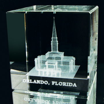 Orlando Florida Temple Crystal Cube
