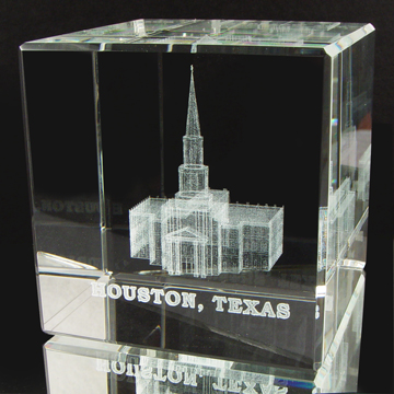Houston Texas Temple Crystal Cube