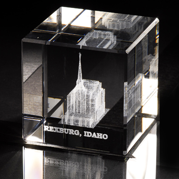 Rexburg Idaho Temple Crystal Cube